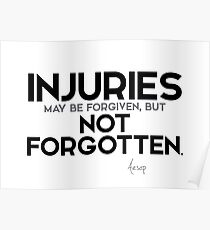 injuries may be forgiven, but not forgotten - aesop Poster