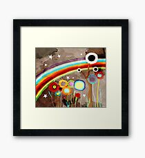 VINTAGE RAINBOW GRUNGY DISTRESSED MEADOW Framed Print