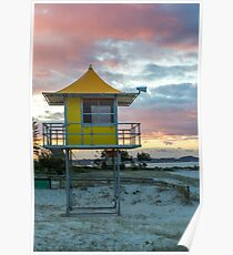 Lifeguard tower and beach Poster