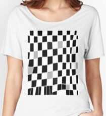 Funky gingham black grey white Women's Relaxed Fit T-Shirt