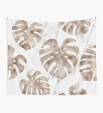 Rose gold monstera on white marble Wall Tapestry