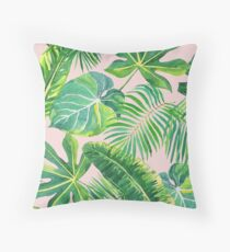 Blush pink tropical ferns Throw Pillow
