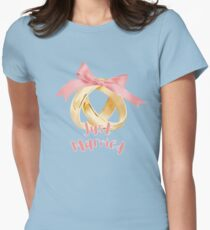 Watercolor Just Married  Womens Fitted T-Shirt