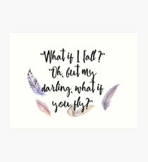 What if you fly? Feather whimsy. Art Print