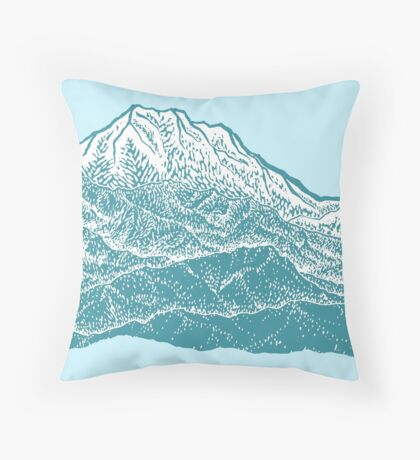 Distant Snow- 遠雪 : linocut Throw Pillow