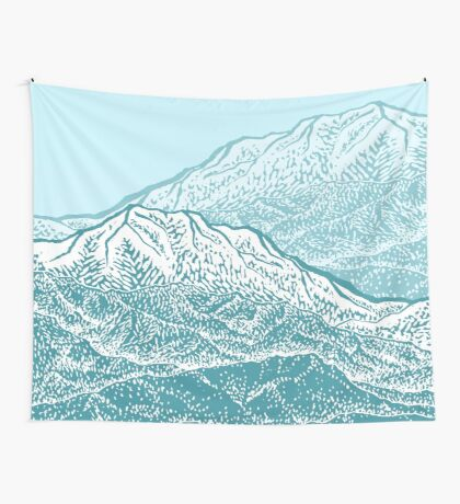 Distant Snow- 遠雪 : linocut Wall Tapestry