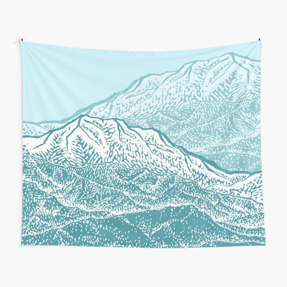 Distant Snow- 雪: Linolschnitt Wandbehang