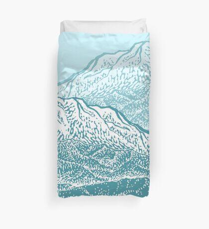 Distant Snow- 遠雪 : linocut Duvet Cover