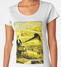 EDISON CONCERT PHONOGRAPH: Vintage Performing Advertising Print Premium Scoop T-Shirt