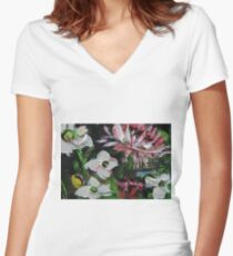 Floral Spring Colorful Oil Painting Women's Fitted V-Neck T-Shirt