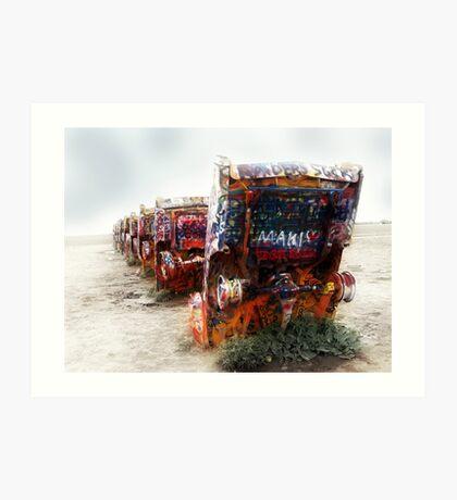 cadillac ranch, route 66, amarillo, texas Art Print