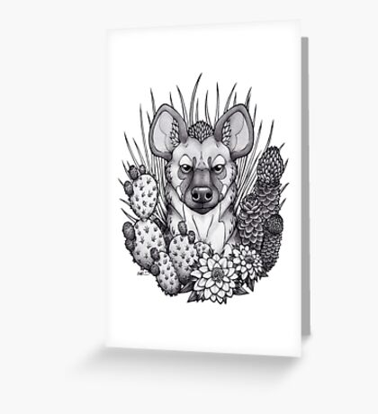 Hyena & Arid Plants Greeting Card
