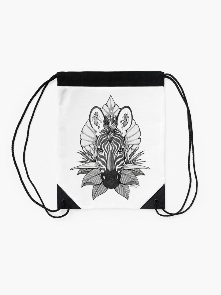 Alternate view of Zebra & Jungle Leaves Drawstring Bag
