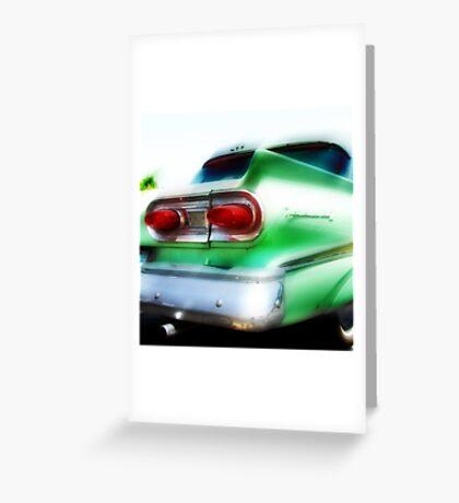 green ford fairlane, route 66, oklahoma city, oklahoma Greeting Card