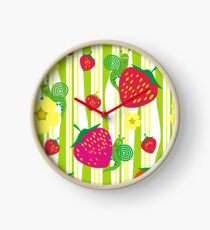 Strawberry and flowers. Clock