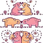 Honey Bears Gold and Pink by Paigekotalik
