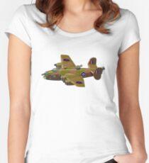 Cartoon retro bomber Women's Fitted Scoop T-Shirt