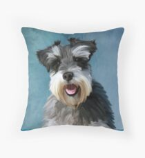 Miniature Schnauzer Dog Water Color Art Painting Throw Pillow