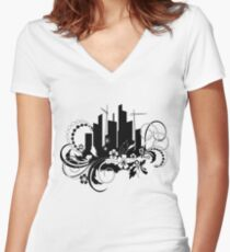 floral urban Women's Fitted V-Neck T-Shirt