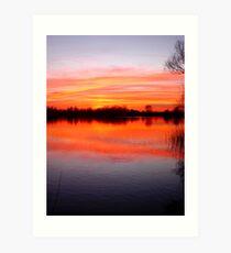 Sunset Over The Lake.. Art Print