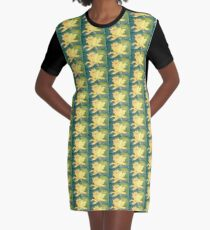 Retro Comic Daffodil Graphic T-Shirt Dress