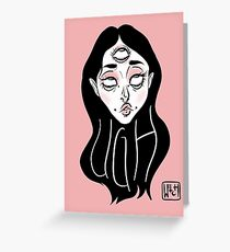 """ UGH "" Girl Head design with Witch Branding Greeting Card"