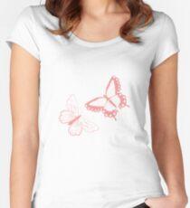 Butterfly pattern 012 Women's Fitted Scoop T-Shirt