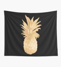 Gold Pineapple Black and White Stripes Wall Tapestry