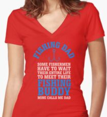 Fishing Dad Women's Fitted V-Neck T-Shirt