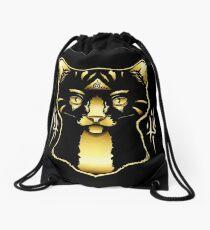 Gold Cat Drawstring Bag
