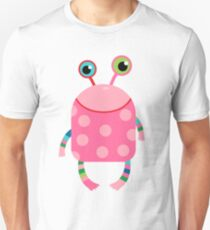 Cute silly monster alien creature in pink Unisex T-Shirt