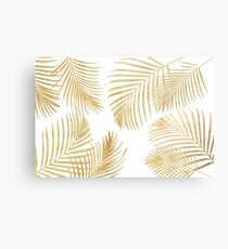 Gold Palm Leaves on white Metal Print