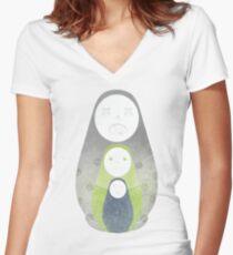 Zombie nesting dolls  Women's Fitted V-Neck T-Shirt