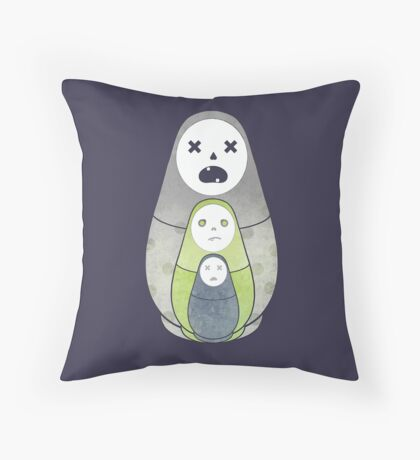 Zombie nesting dolls  Throw Pillow
