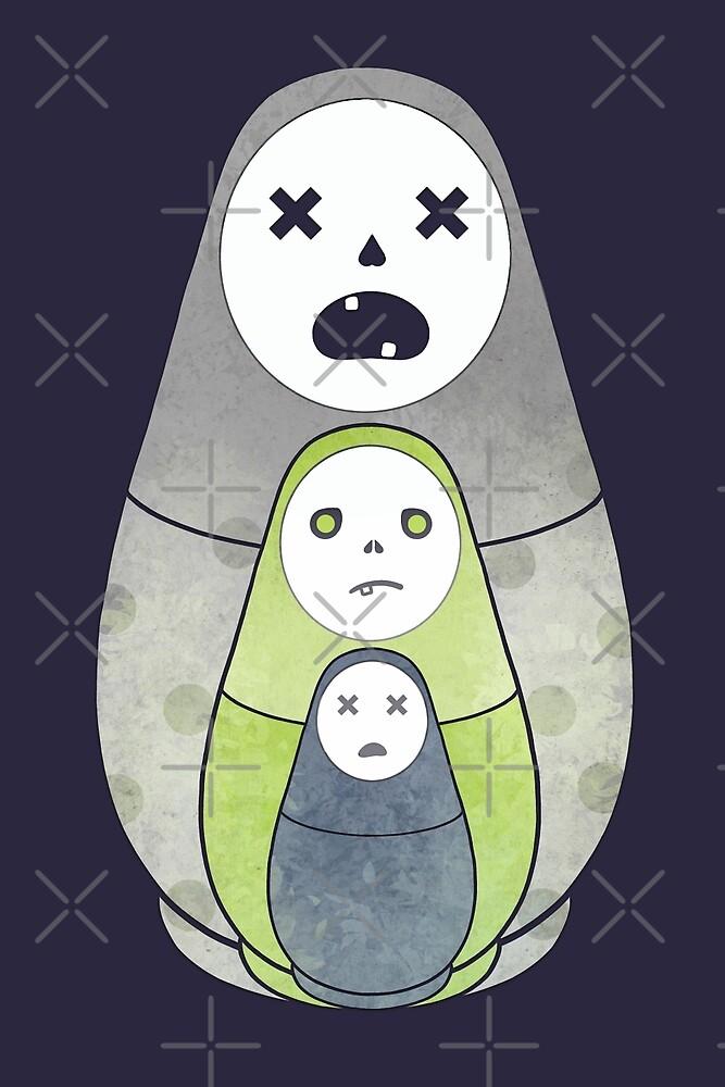 Zombie nesting dolls  by Elena Naylor