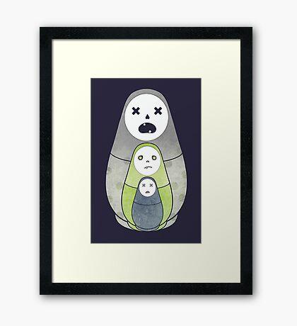 Zombie nesting dolls  Framed Print