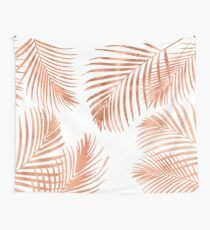 Rose Gold Palm Leaves Wall Tapestry