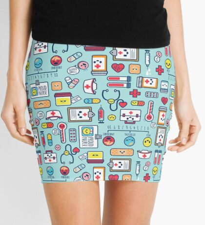 Proud To Be a Nurse / Surface Pattern Design / Blue Mini Skirt