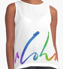 Aloha - Tropical Lettering - Sails and Waves Calligraphy on White - Hawaii Hawai'i Contrast Tank