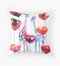 Giraffes in the Poppies Throw Pillow