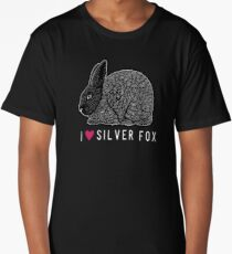 I Heart Silver Fox Rabbits / rare breed heritage breed rabbit livestock conservancy standing fur show rabbit art  Long T-Shirt