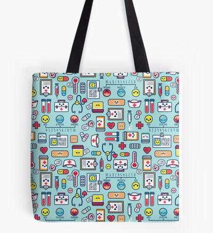 Proud To Be a Nurse / Surface Pattern Design / Blue Tote Bag
