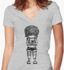 Smile Baby Photographer black and white Women's Fitted V-Neck T-Shirt