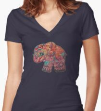 Vintage Elephant Women's Fitted V-Neck T-Shirt