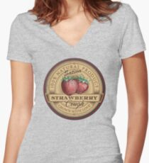 Strawberry Cough Sativa Women's Fitted V-Neck T-Shirt