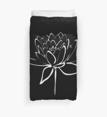 Lotus Flower Calligraphy (White) Duvet Cover