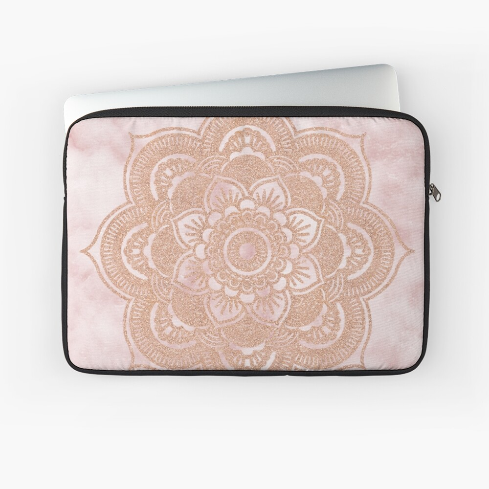 Roségold Mandala - rosa Marmor Laptoptasche