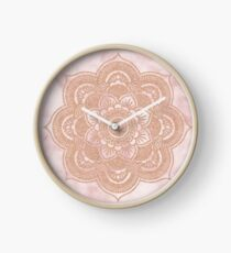 Rose gold mandala - pink marble Clock