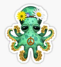 Cute Green Baby Octopus Hippie Sticker