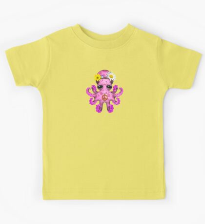 Cute Pink Baby Octopus Hippie Kids Clothes